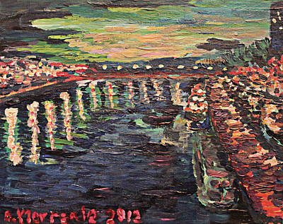 Art Print featuring the painting Le Seine De Nuit by Denny Morreale