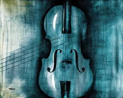 Violin Painting - Le Violon Bleu by Hakon Soreide