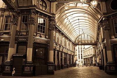 Leadenhall Market London Sepia Toned Image Art Print
