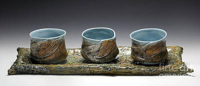 Yunomi Sculpture - Leaf Tray With Yunomis by Mark Chuck