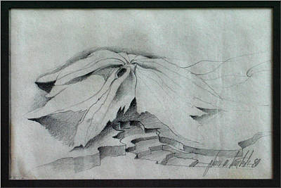 Drawing - Leafstairscape 1980 by Glenn Bautista
