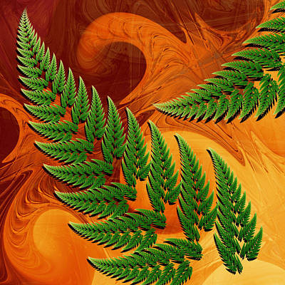 Bright Digital Art - Leaftips In Forest by Pam Blackstone