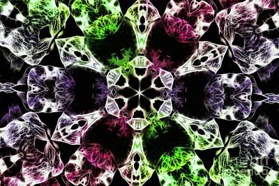 Pink Black Tree Rainbow Digital Art - Leafy Surprise by Mariola Bitner