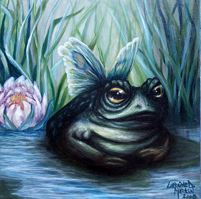 Lilly Pond Painting - Leah's Butterfrog by Lorraine Davis Martin