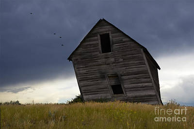Alberta Prairie Landscape Photograph - Leaning A Little 2 by Bob Christopher