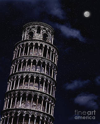 Leaning Tower Of Pisa At Night Art Print