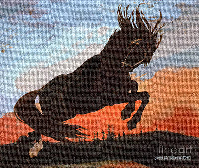 Mixed Media - Leaping Black Horse by Jerry L Barrett