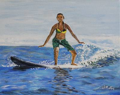 Learning To Surf Art Print by Donna Muller