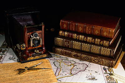 Leather Bound Books, An Old Camera Art Print