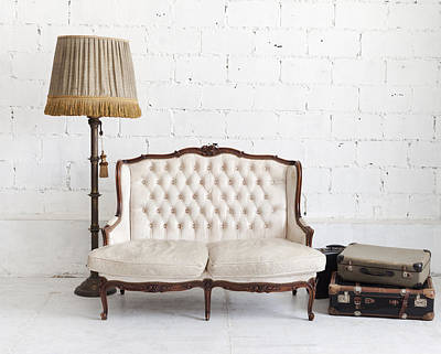 Leather Sofa In White Room Art Print by Setsiri Silapasuwanchai