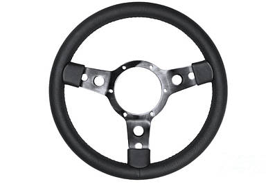Leather Steering Wheel Isolated Art Print by Richard Thomas
