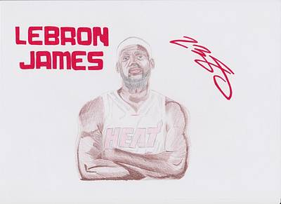 Lebron Drawing - Lebron James by Toni Jaso