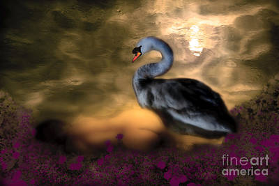 Art Print featuring the digital art Leda And The Swan by Rosa Cobos
