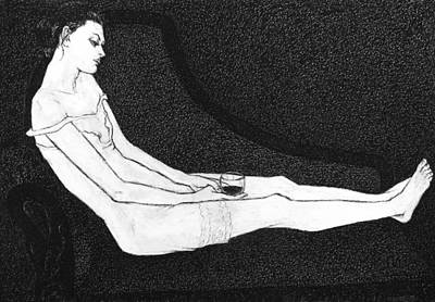 Black Painting - Leda II by Leonid Petrushin