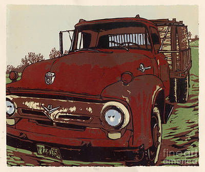 Leeser's Truck - Linocut Print Print by Annie Laurie