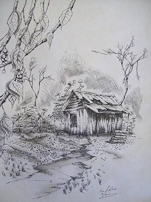 Old Shed Drawing - Left Alone by Tom Rechsteiner
