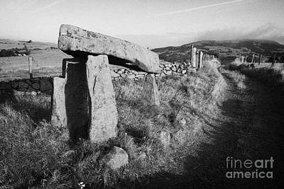 Megalith Photograph - Legananny Dolmen Portal Tomb Ancient Historic Monument Beside Farmers Laneway County Down by Joe Fox