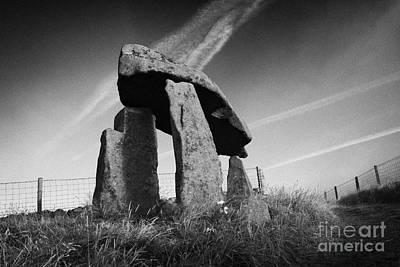 Megalith Photograph - Legananny Dolmen Portal Tomb Ancient Historic Monument County Down Northern Ireland Uk by Joe Fox