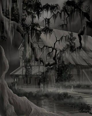 Lost City Painting - Legend Of The Old House In The Swamp by James Christopher Hill