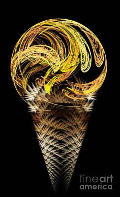 Digital Art - Lemon Ice Cream Cone by Andee Design
