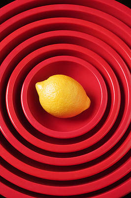 Lemon In Red Bowls Art Print by Garry Gay