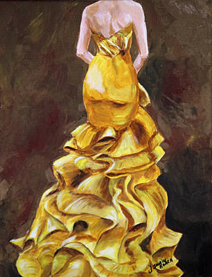 Strapless Dress Painting - Lemon Twist by Jennifer Koach