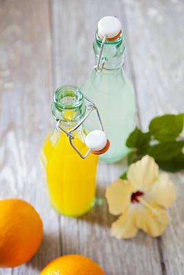 Lemonade And Orangeade In Swing Top Bottles Art Print