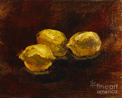 Painting - Lemons For Everyone With Gold Leaf By Vic Mastis by Vic  Mastis