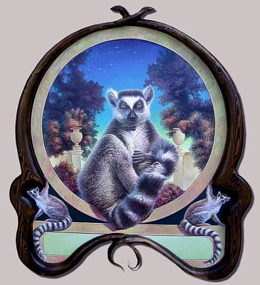 Painting - Zoofari Poster The Lemur by Hans Droog