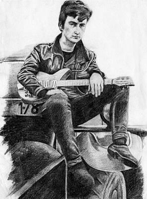 Rickenbacker Painting - Lennon - Pencil by Jayne Kennedy