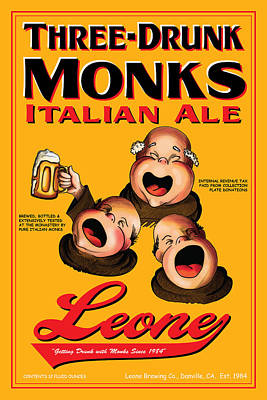 English Ale Drawing - Leone Three Drunk Monks by John OBrien
