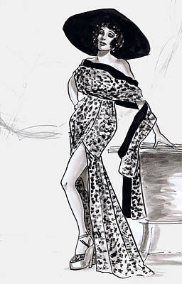 Gloria Drawing - Leopard Beach Outfit by Mel Thompson