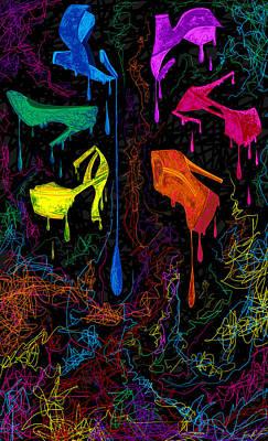 Stillettos Painting - Les Couleur Des Chaussures Numero 1 by Kenal Louis