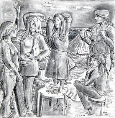 Demoiselles Drawing - Les Demoiselles V1 by Susan Cafarelli Burke