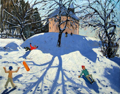 Winter Landscape Painting - Les Gets by Andrew Macara
