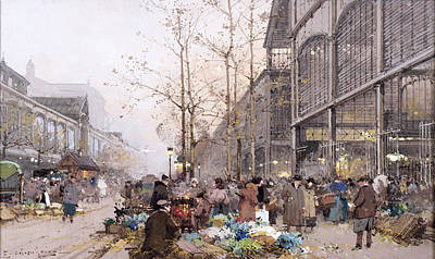 Halle Painting - Les Halles And St. Eustache by Eugene Galien-Laloue