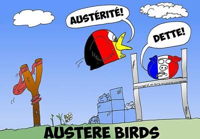 Euro Zone Mixed Media - Les Oiseaux Austere by OptionsClick BlogArt