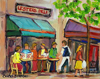 Montreal Restaurants Painting - Lester's Deli Montreal Cafe Summer Scene by Carole Spandau