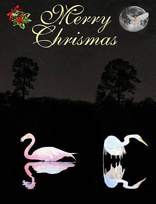 Mixed Media - Lesvos Salt Flat Birds Merry Christmas by Eric Kempson