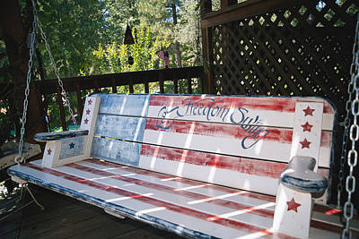 Let Freedom Swing Swinging Bench Print by Gina Martin