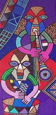 Folk Art Mixed Media - Let The Music Play2 by Harold Egbune