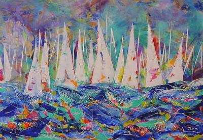 Art Print featuring the painting Let The Race Begin by Lyn Olsen