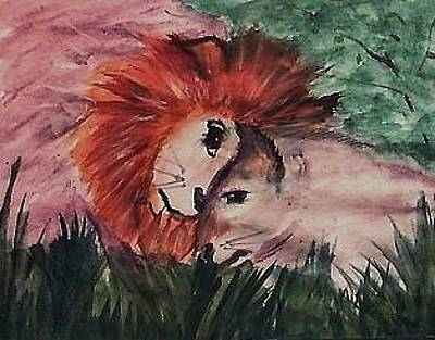 Painting - Lets Snuggle Lion Love by Anna Lewis