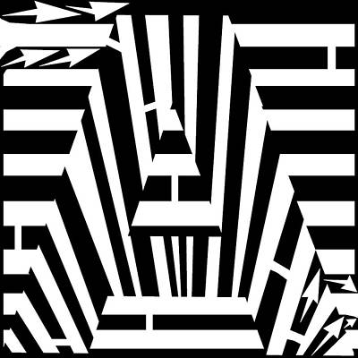 Alphabet Mazes Drawing - Letter A Maze by Yonatan Frimer Maze Artist