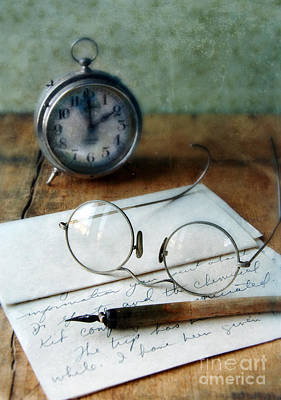 Letter Pen Glasses And Clock Art Print by Jill Battaglia