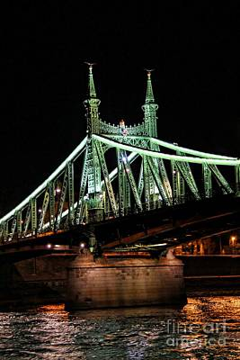 Budapest Hungary Hotels Photograph - Liberty Bridge At Night by Mariola Bitner