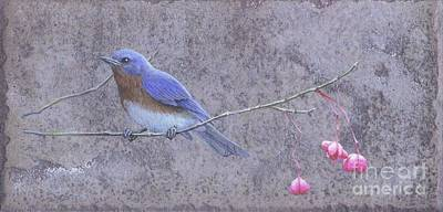 Spindles Painting - Liberty - Eastern Bluebird On Wahoo Branch by Susan A Walton