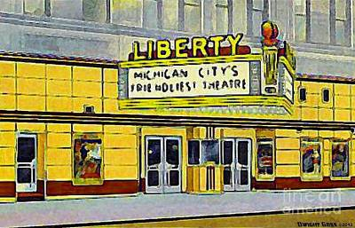 Painting - Liberty Theatre In Michigan City In In 1948 by Dwight Goss