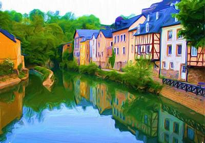 Life Along The Alzette River Art Print by Dennis Lundell
