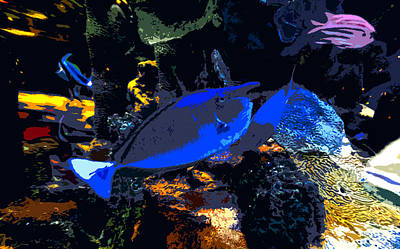 Abstract Seascape Digital Art - Life Among The Coral by David Lee Thompson